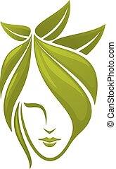 folhas, mulher, rosto verde