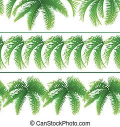 folhas, palma, seamless, padrões