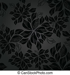 folhas, papel parede, seamless, carvão