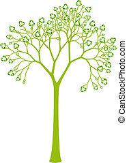 folhas, reciclagem, árvore, sinal