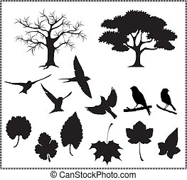 folhas, silueta, pássaros, vetorial, árvore