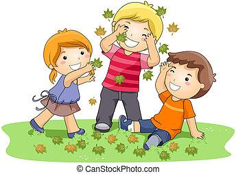folhas, tocando