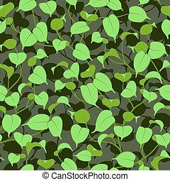 folhas, verde, seamless, fundo, ficus