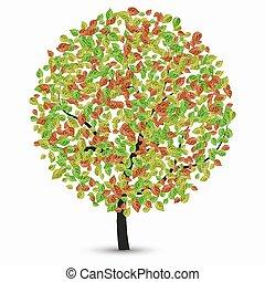 folhas, vetorial, árvore, branca