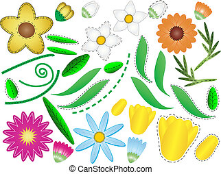 folhas, vetorial, eps, flores, &, 8