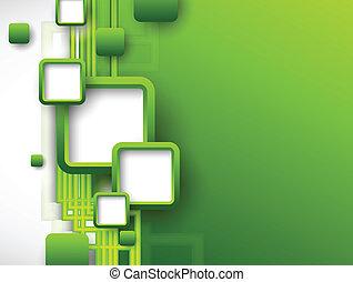 folheto, abstratos, verde