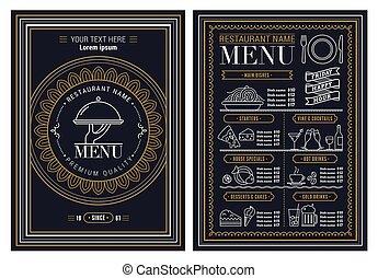 folheto, modelo, vetorial, restaurante, desenho, menu