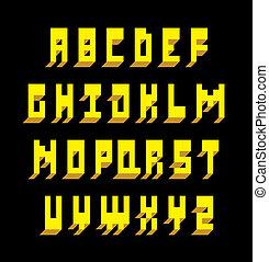 fonte, alfabeto, vetorial, type., 3d