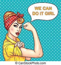 força, dela, dona de casa, mulher, atraente, demonstrar, estouro, confiante, arte