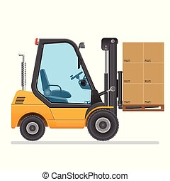 forklift, isolado, ilustração, experiência., vetorial, branca, truck.