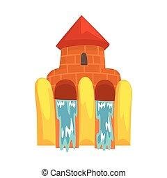 forma água, aquapark, ilustração, deslizamentos, equipamento, vetorial, caricatura, castelo