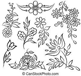 forma, abstratos, angle., isolado, arranjo, experiência preta, floral, branca, borda