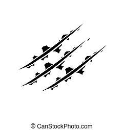 forma, animal, doodle, pata, gato, tiger, pista, mão, arranhão, rapapé, desenhado, arranhões, garras, vetorial