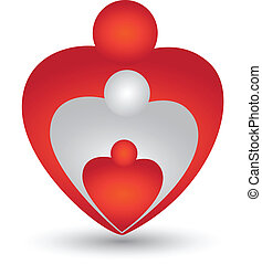 forma coração, vetorial, família, logotipo