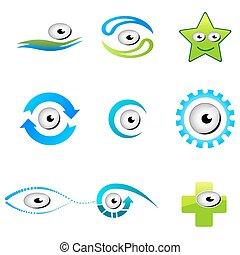 formas, diferente, olhos