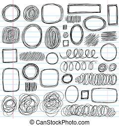 formas, doodles, sketchy, jogo, rabisco