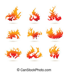 formas, fogo, diferente
