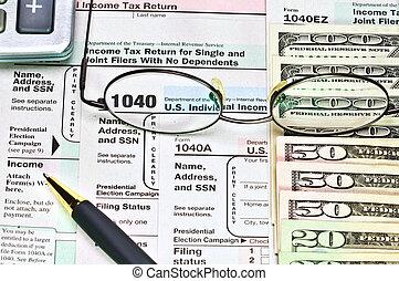 formulários, dinheiro., 1040, imposto