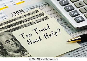 formulários, imposto, calculadora, caneta, dinheiro.