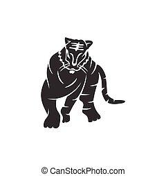 forte, ilustração, tiger, modelo, isolado, corporal, mascote, animal