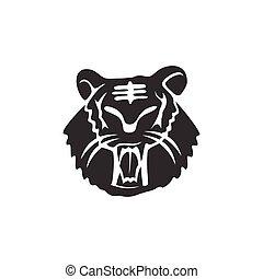 forte, ilustração, tiger, modelo, isolado, mascote, cabeça, animal