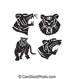 forte, ilustração, tiger, modelo, jogo, mascote, animal