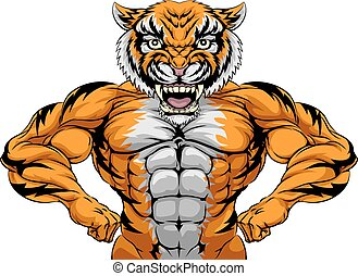 forte, mascote, tiger, esportes