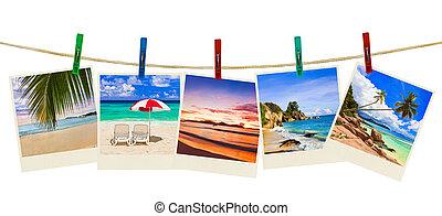 fotografia, férias praia, clothespins