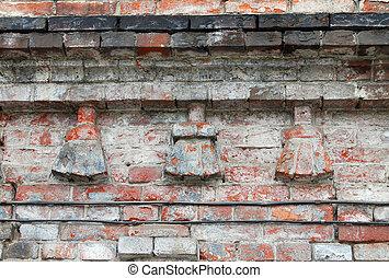 fragmento, antigas, brickwork