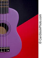 fragmento, four-string, guitarra, ukulele, preto vermelho, fundo