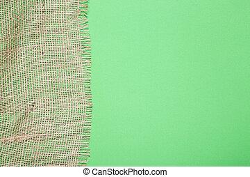 fragmento, verde, burlap, fundo