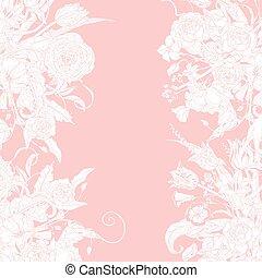 frame., vetorial, pastel, floral