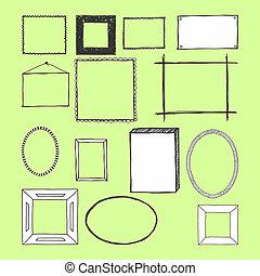 frames., isolated., mão, vetorial, desenhado, doodles.