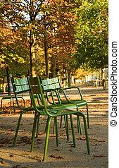 frança, paris, típico, parisian, garden., cadeiras, parque, paris., outono, luxemburgo