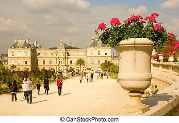 frança, vista, jardim, luxemburgo, paris