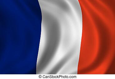 francês, ondulado, bandeira