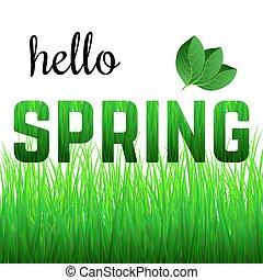 frase, capim, olá, primavera