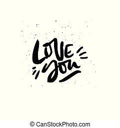 frase, escova, tinta, tu, amor, citação, caligrafia