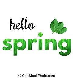 frase, olá, coloridos, primavera