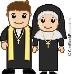 freira, padre, caricatura, vetorial