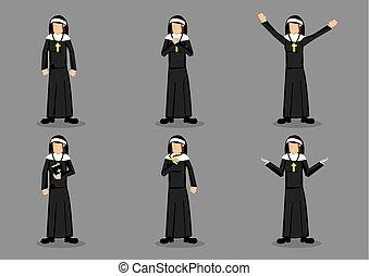 freira, vetorial, personagem, caricatura