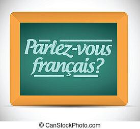 french., escrito, tu, falar