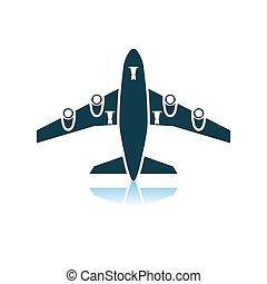 frente, avião, vista, decolagem, ícone
