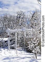 frente, casa, jarda, inverno