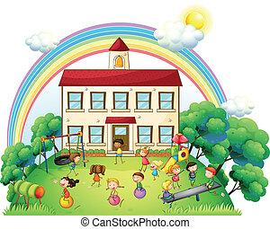 frente, escola, tocando, crianças