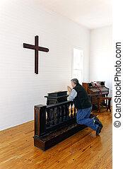frente, orando, crucifixos