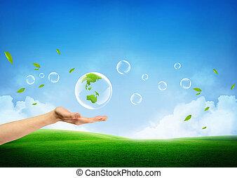 fresco, conceito, terra verde, novo