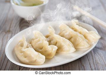 fresco, dumplings, refeição, chinês, asiático