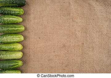 fresco, experiência verde, pepinos, burlap.
