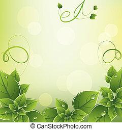 fresco, quadro, vetorial, verde sai